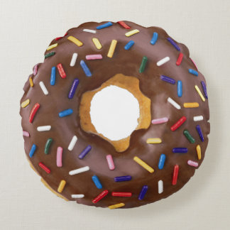 Chocolate Donut With Sprinkles Round Pillow