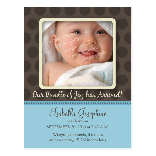 Chocolate Dots Baby Birth Announcement (baby blue) Post Card