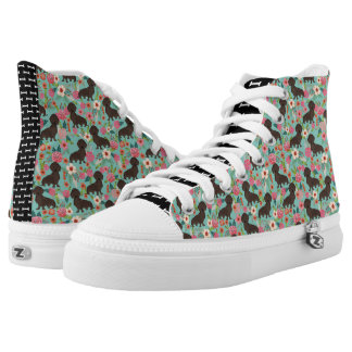 Chocolate Doxie Floral - mint dog florals High Tops