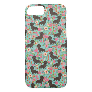 Chocolate Doxie Floral - mint dog florals iPhone 8/7 Case