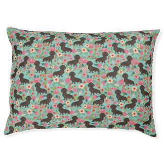 Chocolate Doxie Floral - mint dog florals Pet Bed