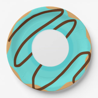 Chocolate Drizzle Blue Donut Paper Plate