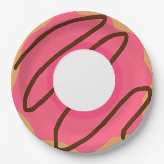 Chocolate Drizzle Pink Donut Paper Plate