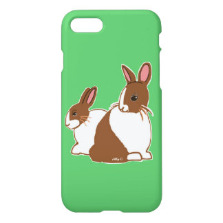Chocolate Dutch Rabbits Green iPhone 7 Case