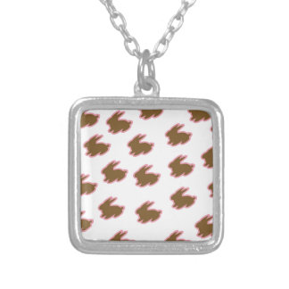 Chocolate Easter Bunnies Square Pendant Necklace