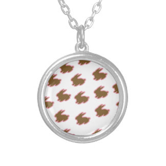 Chocolate Easter Bunnies Round Pendant Necklace