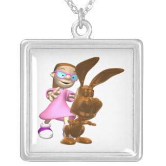 Chocolate Easter Bunny Square Pendant Necklace