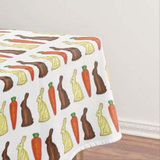 Chocolate Easter Bunny Rabbit Carrot Candy Print Tablecloth