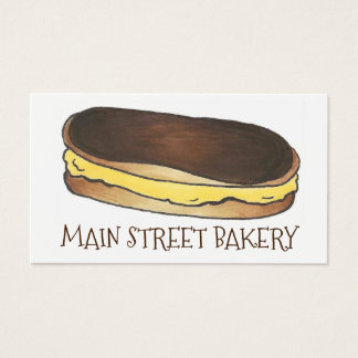 Chocolate Eclair Pastry Baked By Bakery Chef Business Card