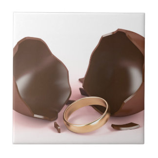 Chocolate egg and engagement ring ceramic tile