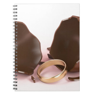 Chocolate egg and engagement ring notebook
