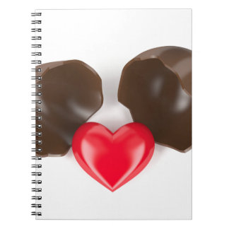 Chocolate egg and heart notebook