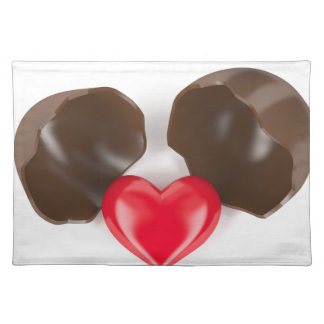 Chocolate egg and heart placemat