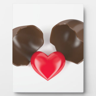 Chocolate egg and heart plaque
