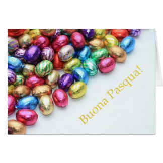 Chocolate eggs italian easter greeting card
