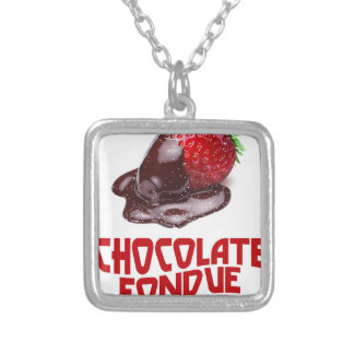 Chocolate Fondue Day - Appreciation Day Silver Plated Necklace