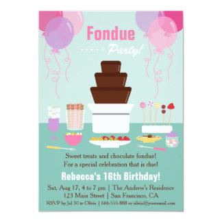 Chocolate Fondue Fountain Girls Birthday Party Card