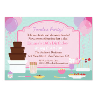 Chocolate Fondue Girls Birthday Party Invitations