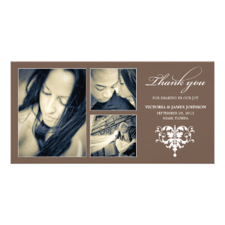 CHOCOLATE FORMAL COLLAGE | WEDDING THANK YOU CARD PHOTO CARD