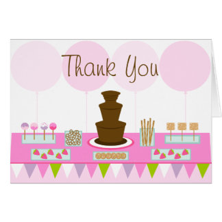 Chocolate Fountain Party Thank You Card