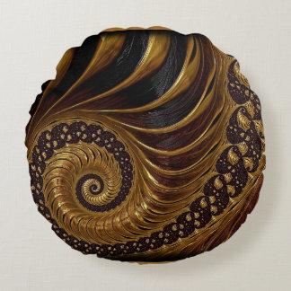 Chocolate Fractal Round Cushion