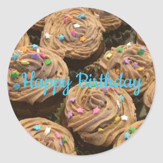 Chocolate Frosted Birthday Cupcakes Classic Round Sticker