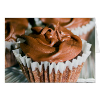 Chocolate Frosted Cupcakes on a Plate Photo Card