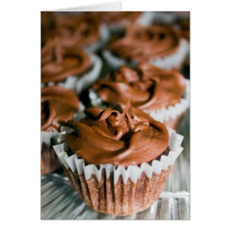 Chocolate Frosted Cupcakes on a Plate Photo Greeting Card