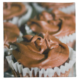 Chocolate Frosted Cupcakes on a Plate Photo Napkin
