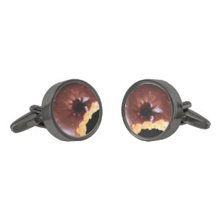 Chocolate Frosted Yellow Cake Donut with Bite Out Gunmetal Finish Cuff Links