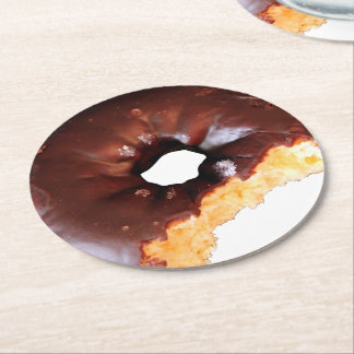Chocolate Frosted Yellow Cake Donut with Bite Out Round Paper Coaster