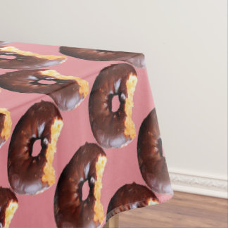 Chocolate Frosted Yellow Cake Donut with Bite Out Tablecloth