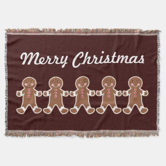 Chocolate Gingerbread Boys Throw Blanket