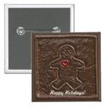 Chocolate Gingerbread Man with Heart Cookie Pinback Button