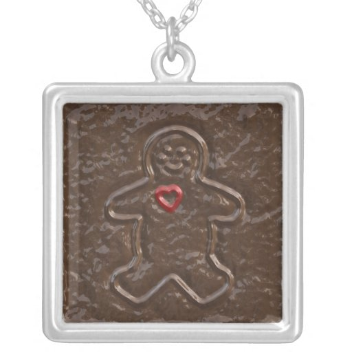 Chocolate Gingerbread Man with Heart Cookie Pendant