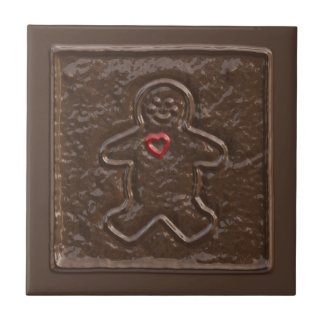 Chocolate Gingerbread Man with Heart Cookie Tile