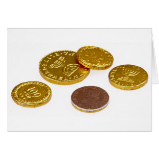 Chocolate gold coins greeting card