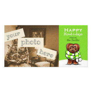 Chocolate Havanese Scarf Christmas Modern Green Picture Card
