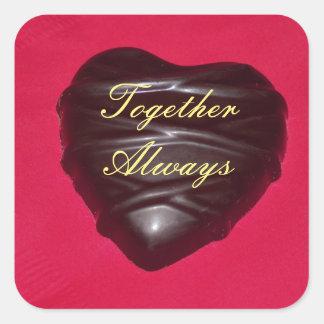 Chocolate Heart Square Sticker