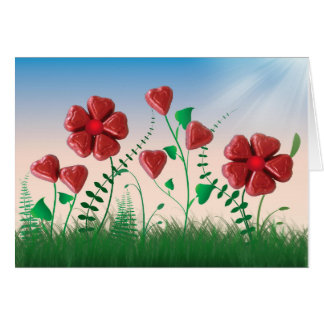 Chocolate Hearts Anniversary Flowers Card