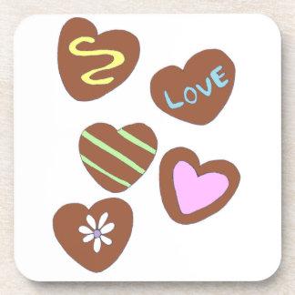 Chocolate Hearts Beverage Coasters