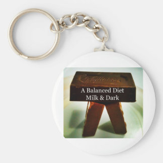Chocolate Humour - A Balanced Diet Basic Round Button Key Ring