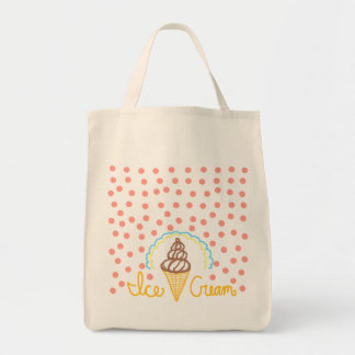 Chocolate Ice Cream Polka Dots Dream Grocery Tote Bag