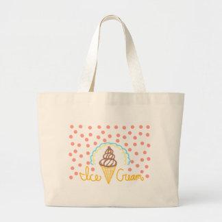 Chocolate Ice Cream Polka Dots Dream Jumbo Tote Bag