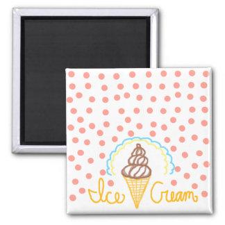 Chocolate Ice Cream Polka Dots Dream Square Magnet