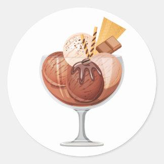 Chocolate Ice Cream Round Sticker