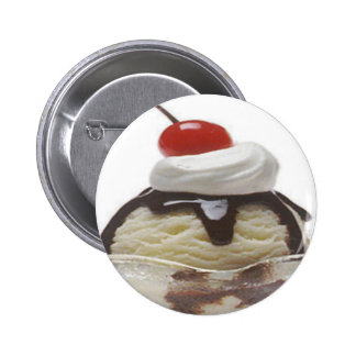 Chocolate Ice Cream Sundae Pinback Buttons
