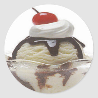 Chocolate Ice Cream Sundae Round Sticker