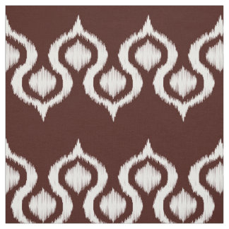 Chocolate Ikat Tribal Pattern Fabric