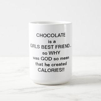 chocolate is a girls best friend basic white mug